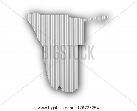 Map Of Namibia On Corrugated Iron