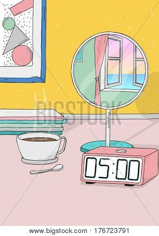 Colorful hand drawn illustration. wake up early.