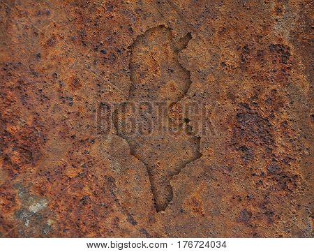 Map Of Tunisia On Rusty Metal