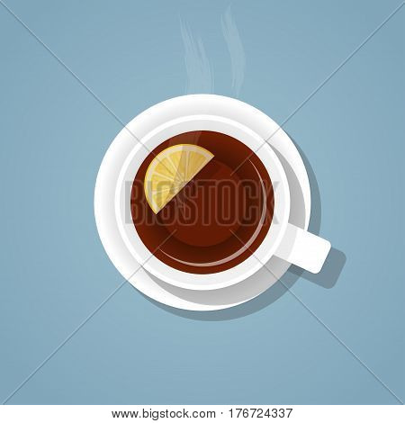 Top view on a white cup of hot fragrant freshly brewed gray tea with lemon and steam on a saucer with a shadow isolated on a blue background. A mixture of realistic and flat styles vector.