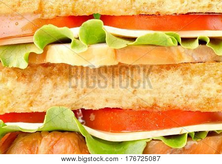 Background of delicious sandwich with ham and cheese