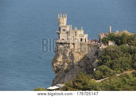 Swallow's nest on the cliff by the sea on the Crimean Peninsula