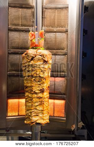 Traditional Turkish Doner Kebab grill on pole