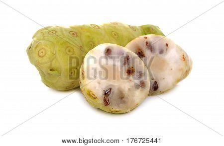 slice Noni Fruit isolated on white background.