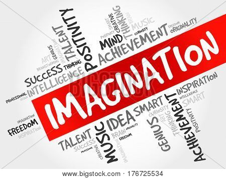 Imagination word cloud collage , business concept