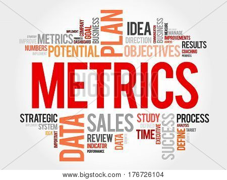 Metrics word cloud business , concept background