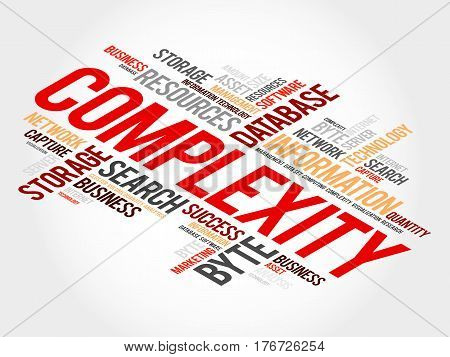 Complexity word cloud collage, health concept background