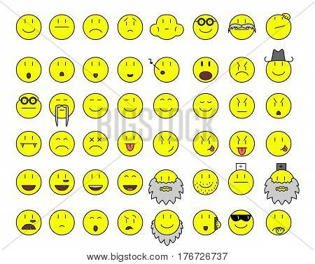 simple yellow smilies vector face icon illustration