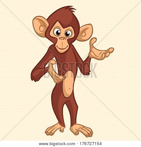 Cartoon monkey smiling and presenting. Vector illustration isolated