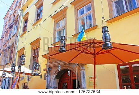 LVIV, UKRAINE - JULY 17, 2015: Gas lamps decor in famous cafe Gasova Lyampa in the center of Lviv