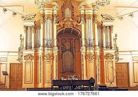 LVIV, UKRAINE - JULY 17, 2015: Interior of Organ Hall in Lviv