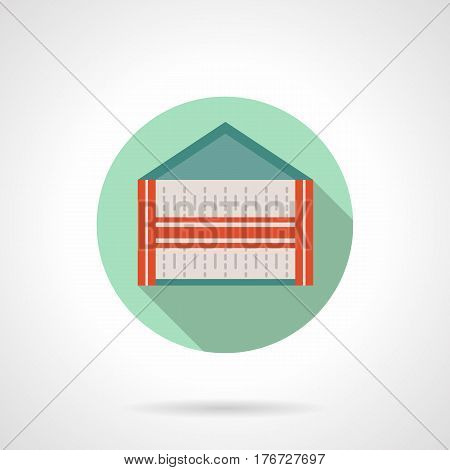 Abstract trade outdoor tent. Commercial structures, mobile and local marquees, pavilions, canopy. Round flat design vector icon.