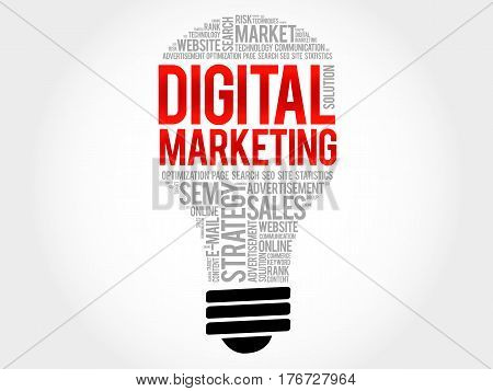 Digital Marketing Bulb Word Cloud Collage