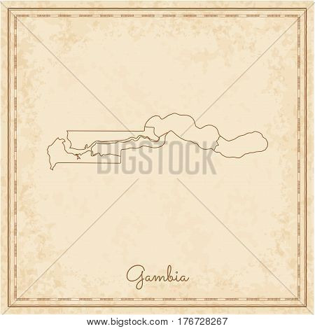 Gambia Region Map: Stilyzed Old Pirate Parchment Imitation. Detailed Map Of Gambia Regions. Vector I