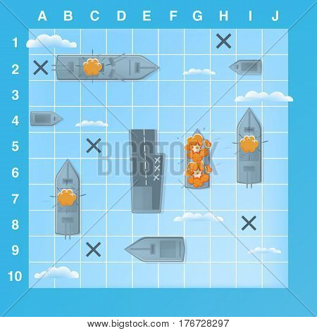 Sea battle game elements with effects, Cartoon illustration