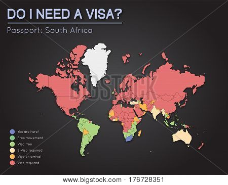 Visas Information For Republic Of South Africa Passport Holders. Year 2017. World Map Infographics S