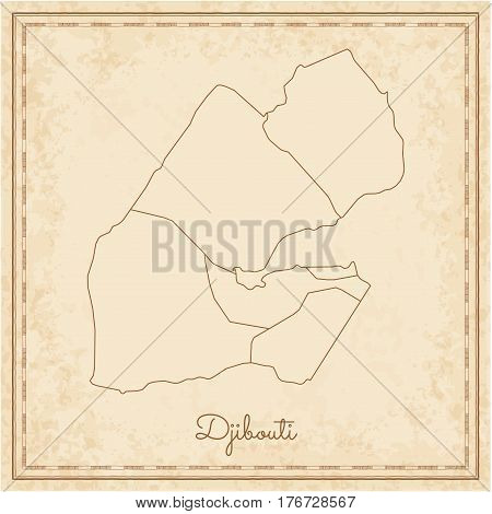 Djibouti Region Map: Stilyzed Old Pirate Parchment Imitation. Detailed Map Of Djibouti Regions. Vect