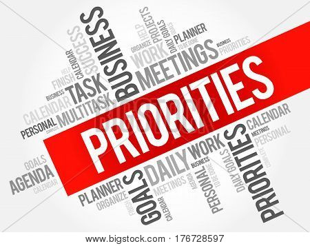 PRIORITIES word cloud collage, business concept background
