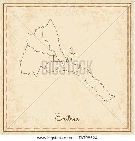 Eritrea Region Map: Stilyzed Old Pirate Parchment Imitation. Detailed Map Of Eritrea Regions. Vector