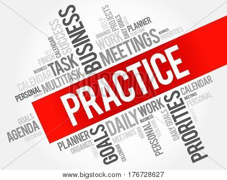 Practice word cloud collage, business concept background