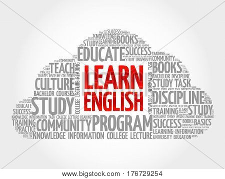 Learn English Word Cloud Collage