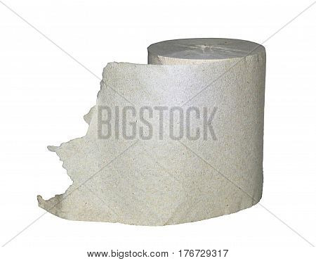 Toilet paper in the plain white background
