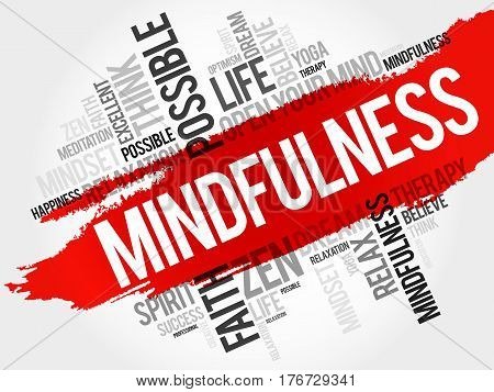 Mindfulness word cloud collage , concept background