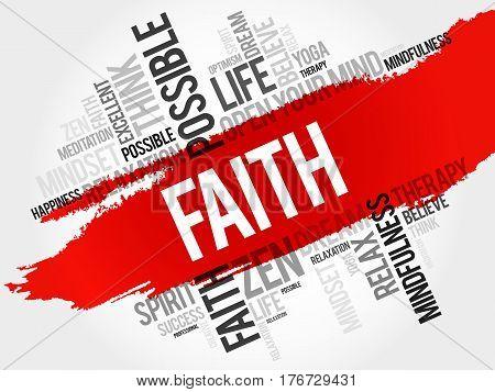 Faith word cloud collage, social concept background