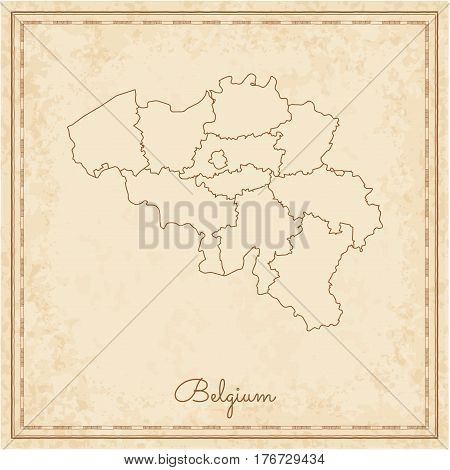 Belgium Region Map: Stilyzed Old Pirate Parchment Imitation. Detailed Map Of Belgium Regions. Vector