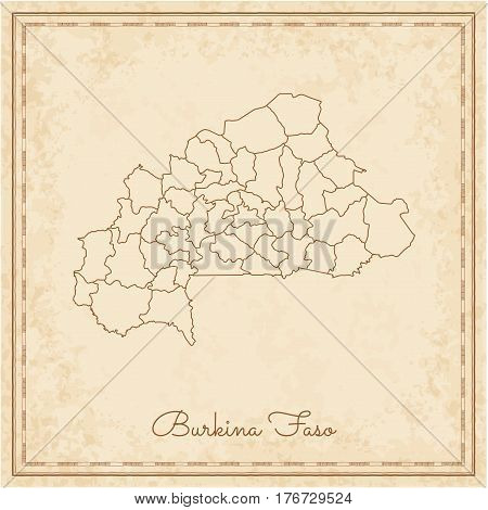 Burkina Faso Region Map: Stilyzed Old Pirate Parchment Imitation. Detailed Map Of Burkina Faso Regio