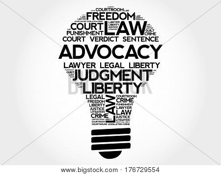 Advocacy bulb word cloud collage, business concept background