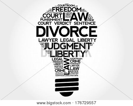 Divorce bulb word cloud collage, social concept background