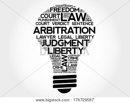 Arbitration bulb word cloud collage, social concept background