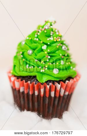 delicious cupcake in the shape of Christmas trees
