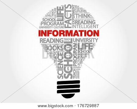 INFORMATION bulb word cloud , business concept