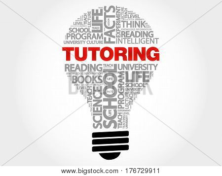 TUTORING bulb word cloud , business concept