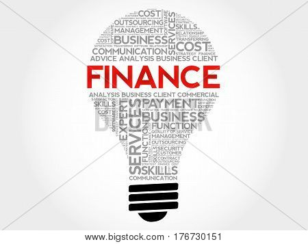 FINANCE bulb word cloud collage, business concept background