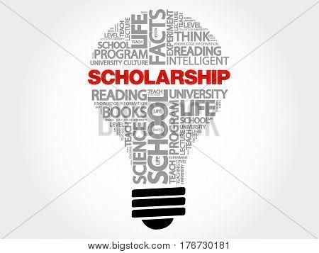 Scholarship bulb word cloud , business concept