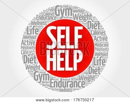 Self Help Circle Stamp Word Cloud