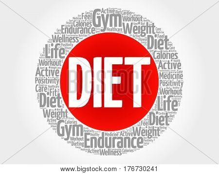 Diet Circle Stamp Word Cloud