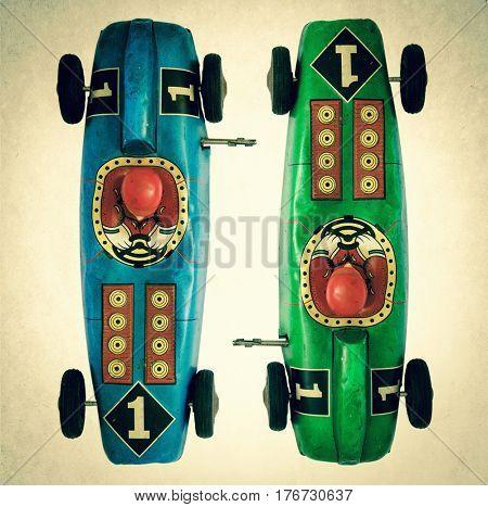 vintage tin toy race car