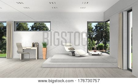 3D rendering of an interior with modern windows and view to the garden