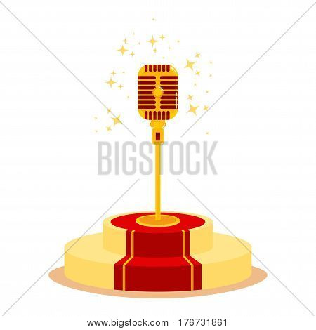 Golden microphone on podium with red carpet. Magnificent performance for successful and famous public. Flat vector cartoon illustration. Objects isolated on a white background.