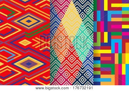 Set of 3 abstract seamless ornament patterns vector illustrations