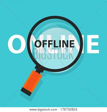 online offline concept business analysis magnifying glass symbol vector