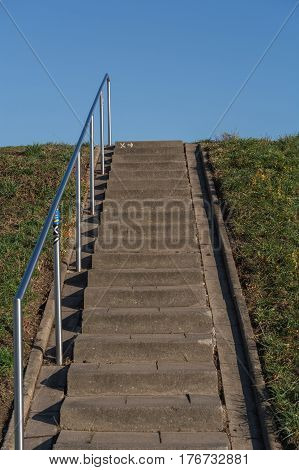 Stairs on the dike at Zons on the Rhine river in Germany.