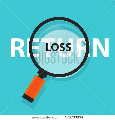 loss or return in investment concept business analysis magnifying glass symbol vector