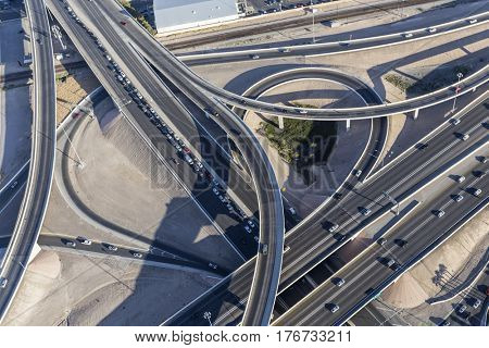 Aerial view of downtown Las Vegas interstate 15 freeway interchange known locally as the spaghetti bowl.
