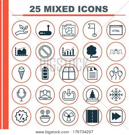 Set Of 25 Universal Editable Icons. Can Be Used For Web, Mobile And App Design. Includes Elements Such As Herb, Cardboard, Save World And More.