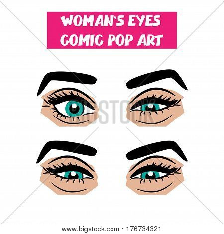 Beautiful sexy girl blue sly, narrowed eyes with long eyelashes, eyebrows. Emotional look style pop art. Comic book retro white background. Vector comic cartoon illustration. Woman body part.